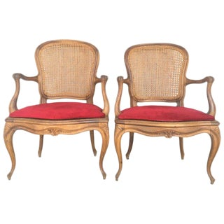 18th Louis XV Cane Back & Seat Fauteuil Armchairs For Sale