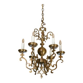 Near-Pair Belgian Brass Georgian Style Chandeliers , Circa 1900 For Sale