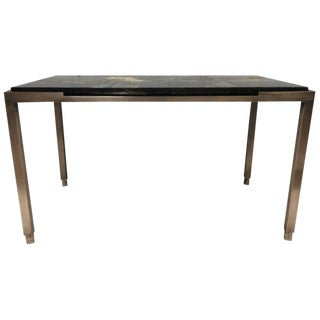 French Polished Bronze and Marble Table For Sale