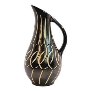 1950s Vintage Piesche and Reif Sgraffito East German Ceramic Pitcher For Sale