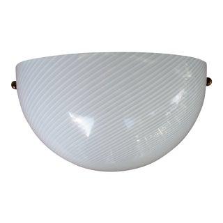 Murano Venini Art Glass White Spiral White Swirl Wall Sconce on Lightolier Fixture For Sale