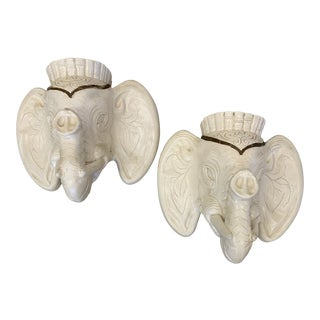 Large Plaster Elephant Head Wall Sconces Planter - a Pair For Sale