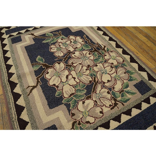 """American Antique American Hooked Rug 2'9"""" X 4'2"""" For Sale - Image 3 of 4"""