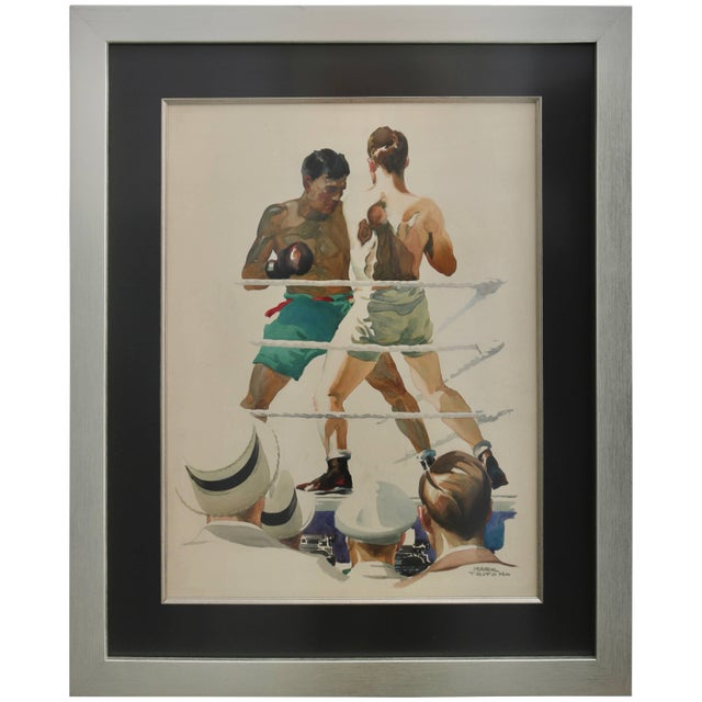 """Blue Watercolor of a Boxing Match Titled """"Ringside"""" For Sale - Image 8 of 8"""