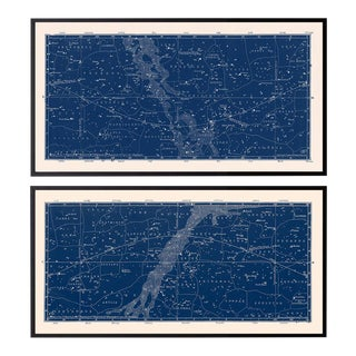 Nautical Constellation Framed Map Prints - Set of 2 For Sale