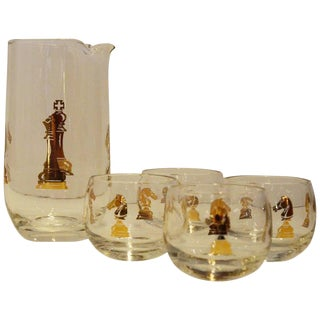 "4 Pieces Mid-Century Modern Hickok ""Checkmate"" Pattern Gilt Glass Martini Set"