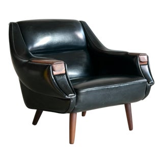 Danish 1960's Space Age Lounge Chair in Naugahyde and Rosewood by h.w. Klein For Sale