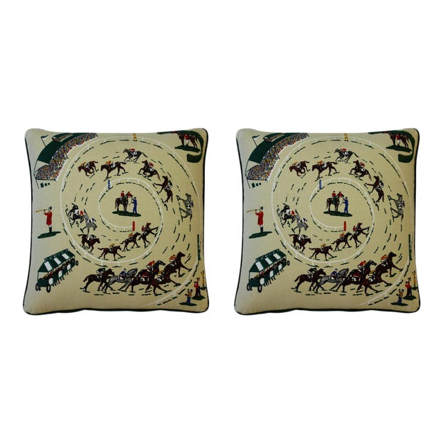 Pair of Race Track Canvas Pillows For Sale
