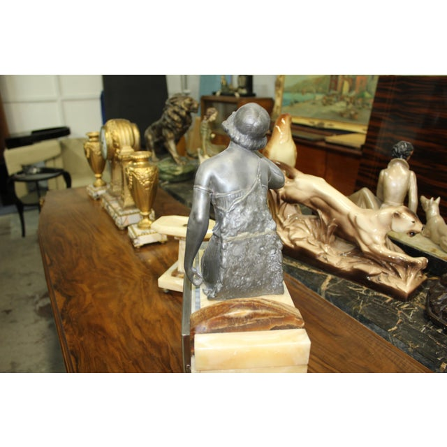 French Art Deco 3-Piece Clock Garniture, Marble with Woman Sitting, Circa 1940s For Sale - Image 4 of 11