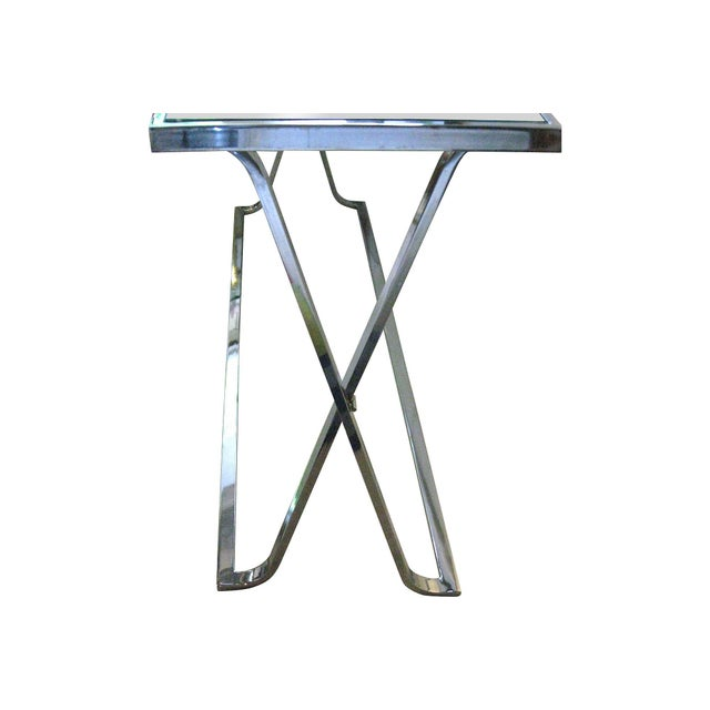 Contemporary X-Base Chrome & Glass Console For Sale - Image 3 of 4