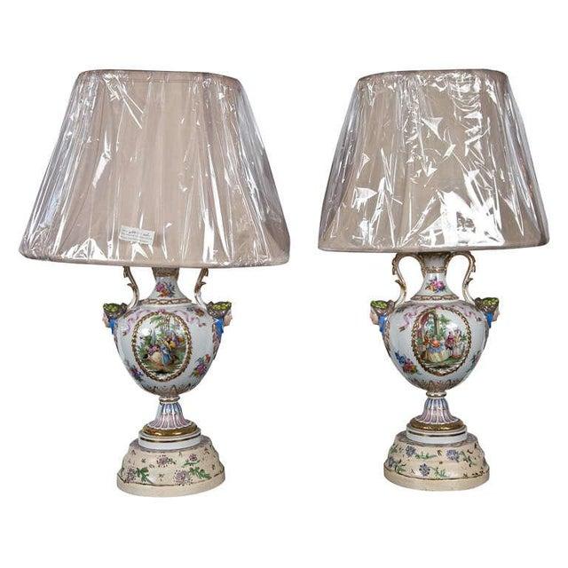Porcelain Meissen Style Urn Form Lamps - Pair For Sale