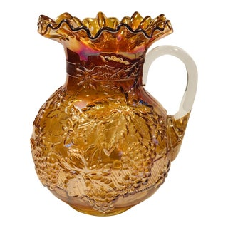 1910s Dugan Carnival Glass Pitcher For Sale