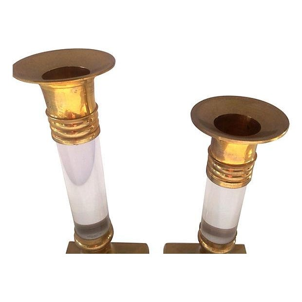 Lucite & Brass Candle Holders - Pair - Image 3 of 3