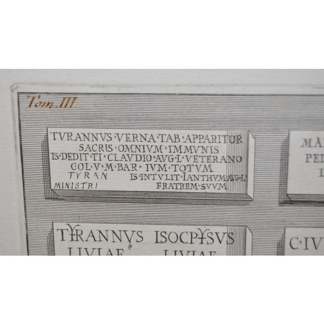 """Inscriptions of the Burial Rooms of Servants of Augustus"" Piranesi Engraving For Sale - Image 5 of 6"