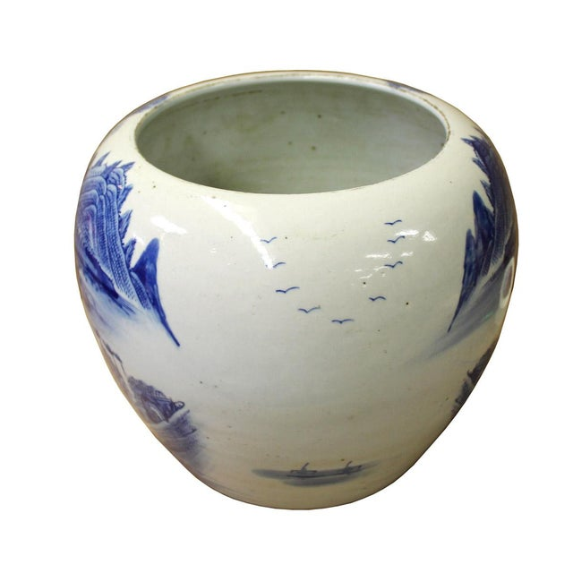 Chinese Blue White Scenery Porcelain Pot Vase For Sale - Image 4 of 6