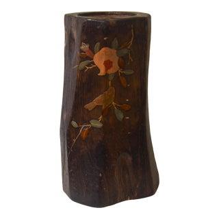Antique Japanese Kiri Wood Ikebana Vase For Sale