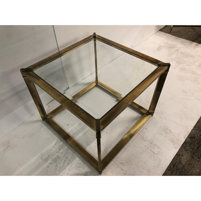 Mid-Century Modern 1960s Mastercraft Mid Century Cube Brass Side/Coffee Table For Sale - Image 3 of 4