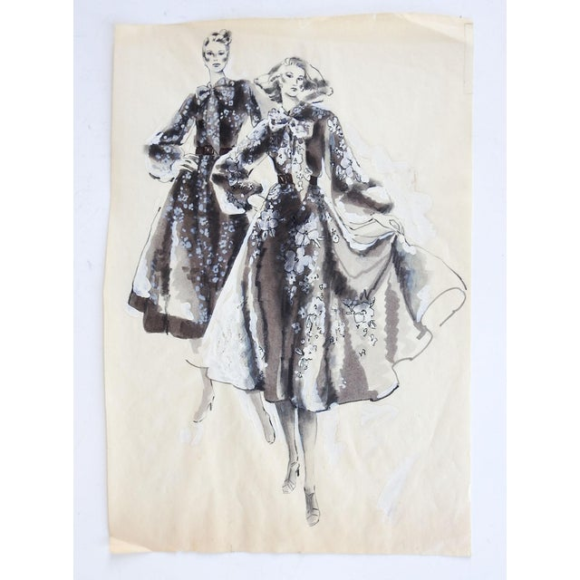 Ink and gouache fashion illustration on thin paper. Unsigned. Unframed, age toning, white corrections by artist.
