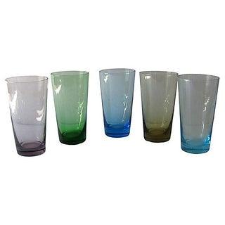Rainbow Hued Monogrammed Highball Glasses - S/5