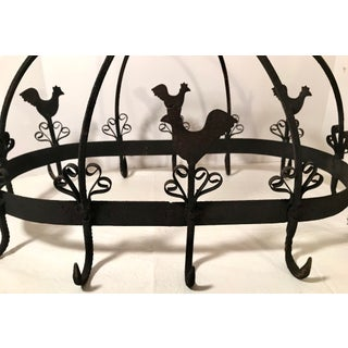 20th Century Country French Black Iron Pot Rack With Chicken Motif Preview