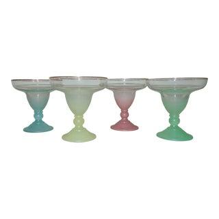 Blendo Mid Century Modern Frosted Margarita / Shrimp Cocktail Glasses - Set of 4 For Sale