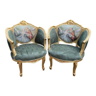 1950's Louis XVI Green Velvet Bergere Chairs - a Pair For Sale