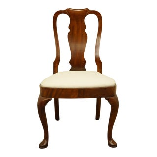 Late 20th Century Hickory Chair Solid Mahogany Queen Anne Style Dining Side Chair For Sale