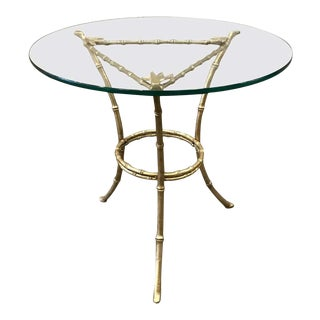 French Faux Bamboo Bronze Side Table For Sale