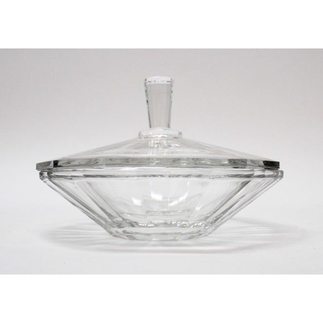 Beautiful Val St. Lambert cut glass lidded bowl. Signed. There is a small chip on the bottom.