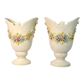 Italian Mottled White Porcelain Vases With Draped Rose Flowers Laurel - a Pair For Sale