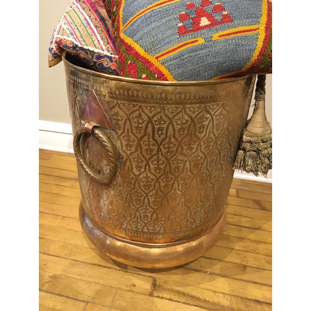 Late 20th Century Moroccan Brass Planter For Sale In Chicago - Image 6 of 12