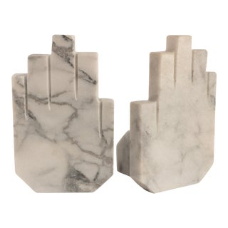 Marble Hand Bookends, a Pair For Sale