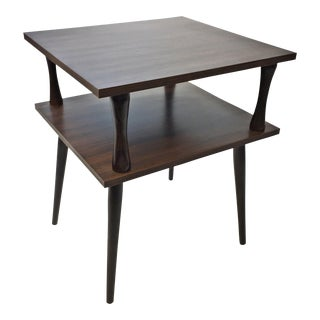 Mid Century Modern Brown Wood Laminate Two Tier Side Table