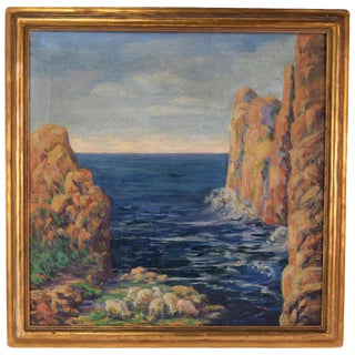 """1930s Vintage """"Glistening Rocks England"""" Helena Saxby Oil Painting For Sale"""