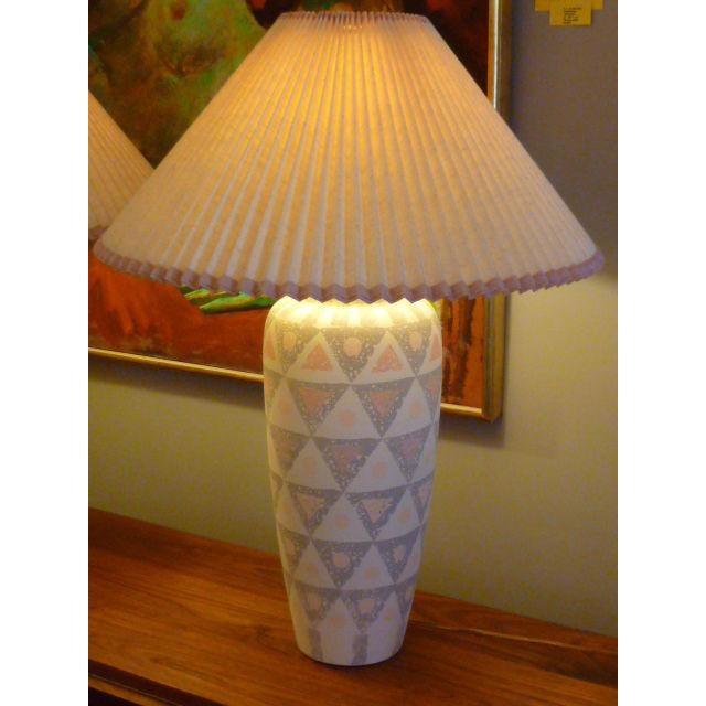 Incredible pair modern geometric motif vase form pottery table pair modern geometric motif vase form pottery table lamps image 9 of 11 mozeypictures Images