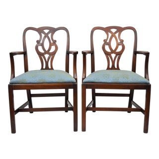 Pair Mahogany Chippendale Style Pretzel Back Dining Room Arm Chairs Baker
