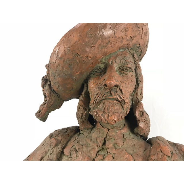 Figurative 1970s Vintage Marianne de Hatten Groh Hand Sculpted Terra Cotta Musketeer Bust For Sale - Image 3 of 13