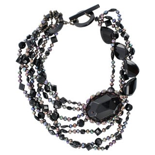 Daniele Cornaggia Black Onyx and Biwa Pearl Necklace For Sale