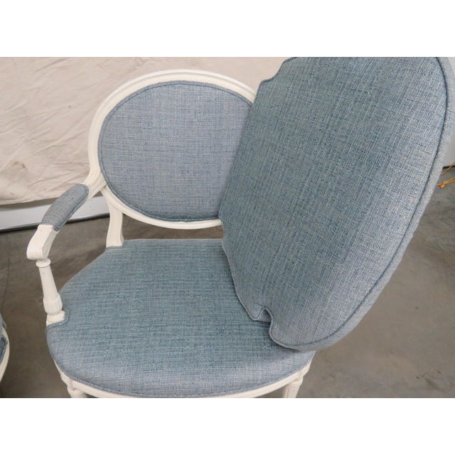 Late 20th Century Louis XVI Style Armchairs - a Pair For Sale - Image 5 of 9