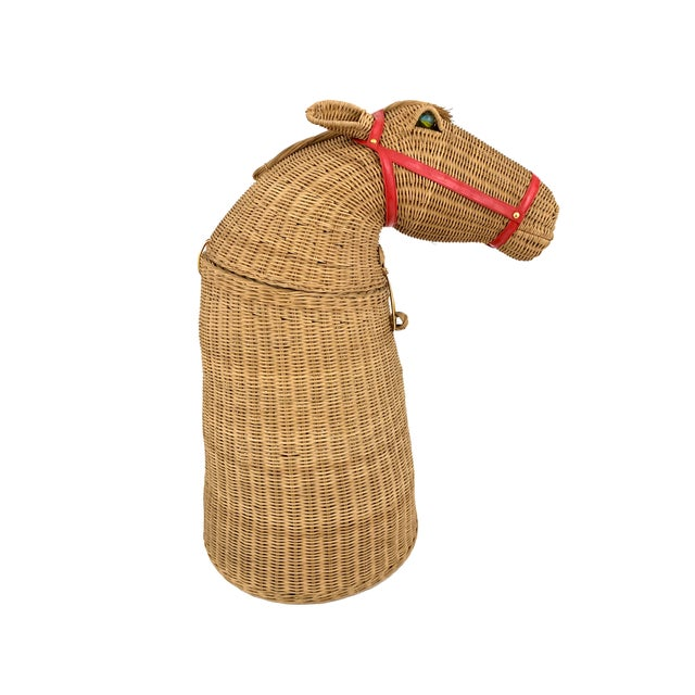 1970s 1970s Vintage 2-Piece Wicker Horse Hamper For Sale - Image 5 of 8