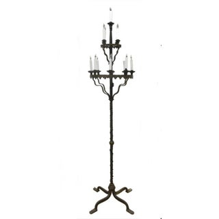 19th Century French Gothic Revival Forged Iron Tall Candelabra Electrified Into Floor Lamp For Sale