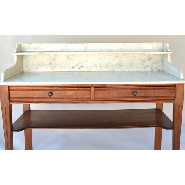 Americana Antique Marble-Top Washstand/Table With Cedar Wood Base For Sale - Image 3 of 10