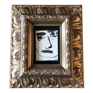 Original Contemporary Robert Cooke Abstract Face Painting Wood Frame For Sale
