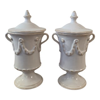 1990s French Country Small White Urns - a Pair For Sale
