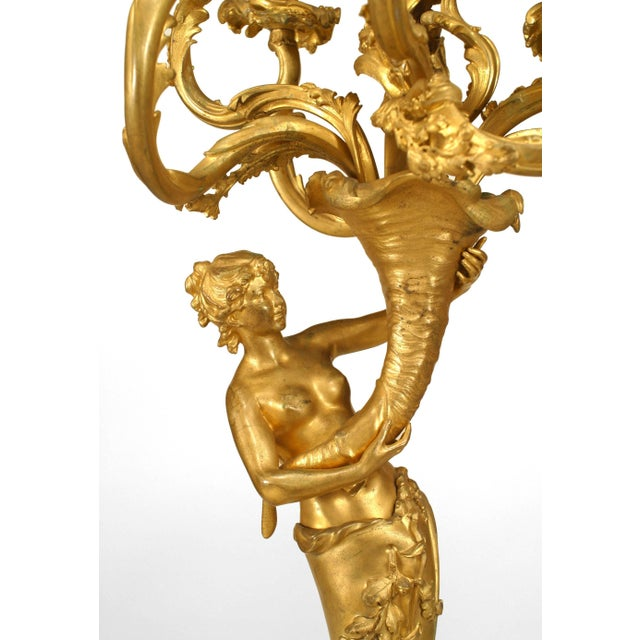 Louis XV Pair of French Louis XV Style Bacchus and Bacchante Nine-Arm Candelabra For Sale - Image 3 of 5