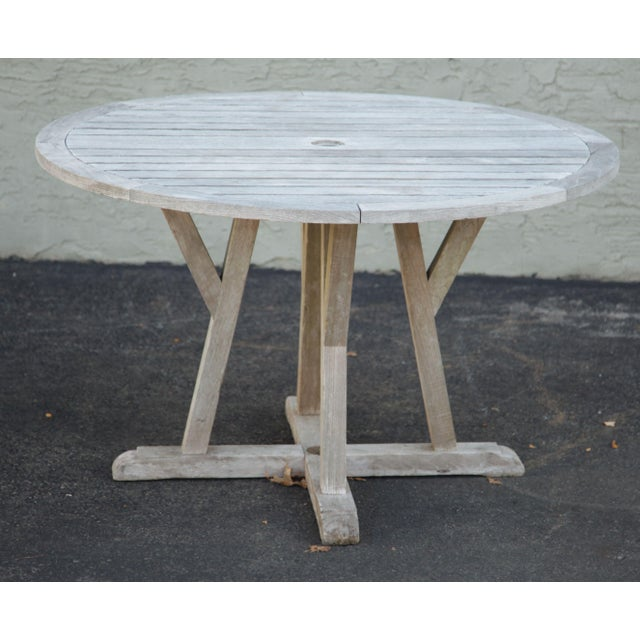 High Quality Solid Teak Wood Weathered Grey Outdoor Table