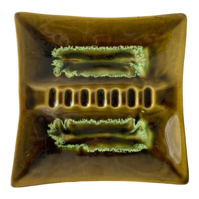 Mid Century Square Drip Glaze Ashtray For Sale