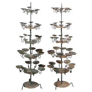 19th Century Spanish Iron Candle Trees With Green Color - a Pair For Sale