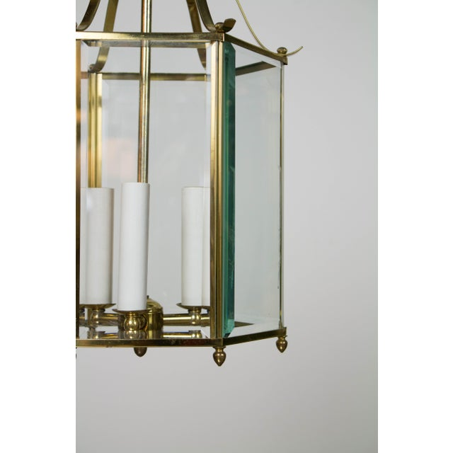 Traditional Hexagonal Beveled Glass Brass Lantern For Sale - Image 3 of 4
