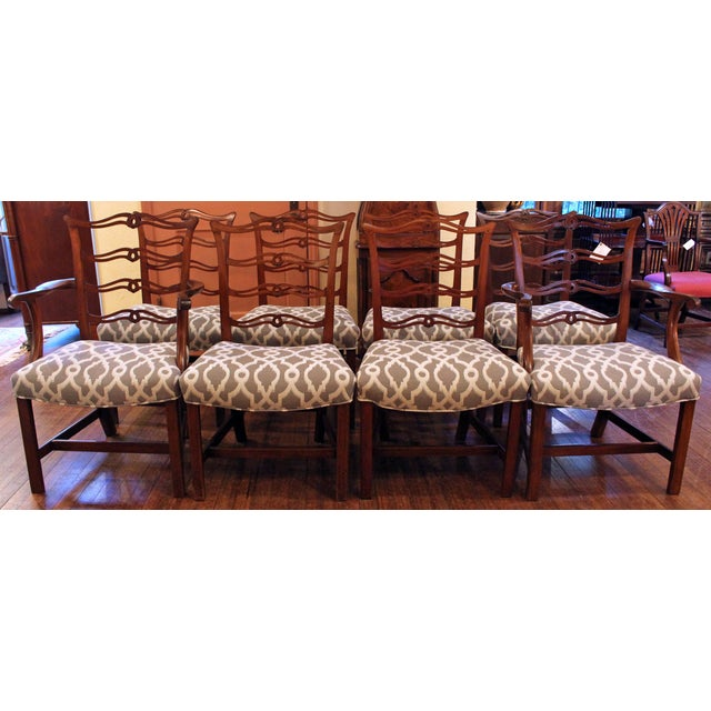 A fine set of 8 dining chairs, Georgian, wavy ladderback after a design of Thomas Chippendale. Fine color & condition. The...